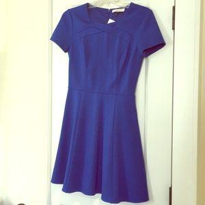 Halston Heritage Fit & Flare Dress Blue